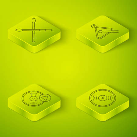 Set Isometric Triangle musical instrument, Vinyl disk, Vinyl disk and Drum sticks icon. Vector