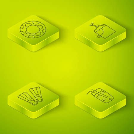 Set Isometric Sand in bucket with shovel, Rubber flippers, Cocktail and alcohol drink and Rubber swimming ring icon. Vector