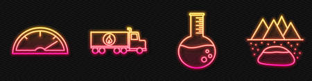 Set line Oil petrol test tube, Speedometer, Tanker truck and Oilfield. Glowing neon icon. Vector