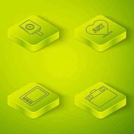 Set Isometric Heart with text art, Graphic tablet, Graphic tablet and Spray can nozzle cap icon. Vector Hình minh hoạ