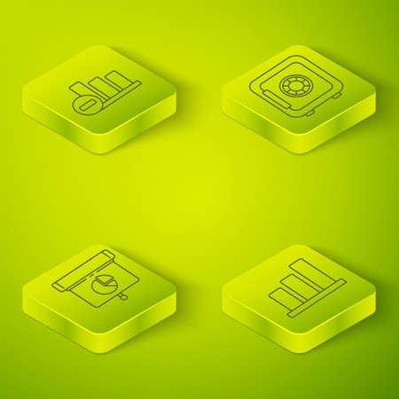 Set Isometric Safe, Graph, chart, diagram, infographic, Pie chart infographic and Pie chart infographic icon. Vector
