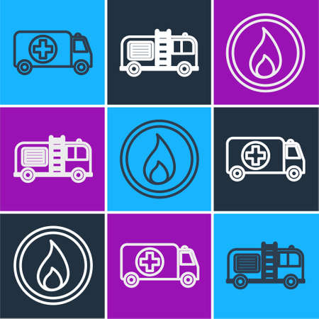 Set line Ambulance and emergency car, Fire flame and Fire truck icon. Vector