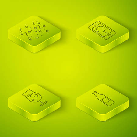Set Isometric Mobile with birthday message, Cocktail and alcohol drink, Beer bottle and Festive confetti icon. Vector Hình minh hoạ