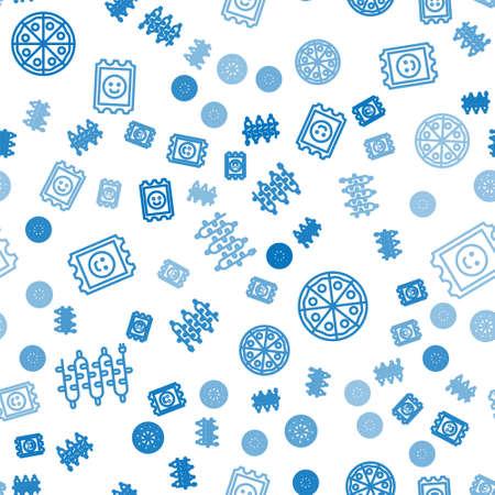 Set line Christmas lights, Pizza and LSD acid mark on seamless pattern. Vector