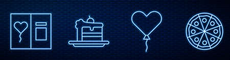 Set line Balloon in form of heart, Greeting card, Cake and Pizza. Glowing neon icon on brick wall. Vector