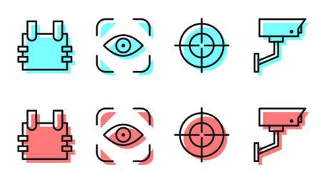 Set line Target sport, Bulletproof vest, Eye scan and Security camera icon. Vector Illusztráció