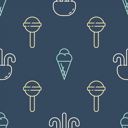 Set line Jellyfish, Lollipop and Ice cream in waffle cone on seamless pattern. Vector