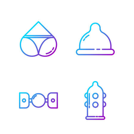 Set line Condom, Silicone ball gag with belt, Woman panties and Condom. Gradient color icons. Vector Illustration