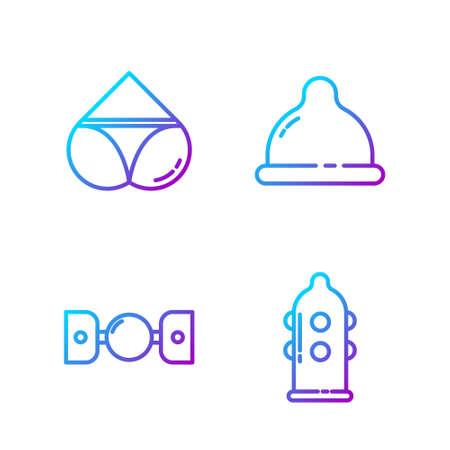 Set line Condom, Silicone ball gag with belt, Woman panties and Condom. Gradient color icons. Vector Ilustração
