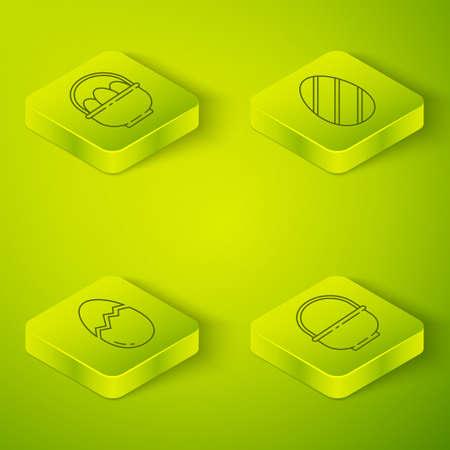 Set Isometric Easter egg, Broken egg, Basket and Basket with easter eggs icon. Vector
