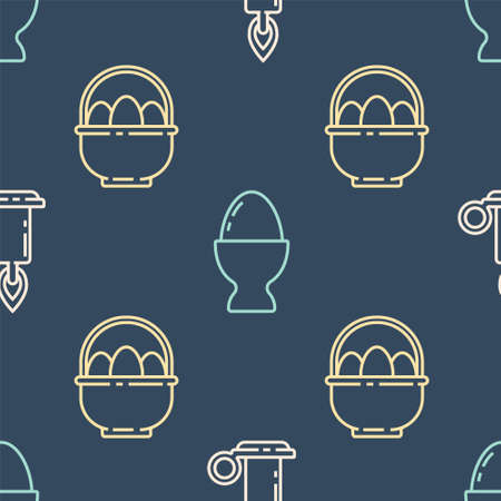Set line Burning candle in candlestick, Basket with easter eggs and Easter egg on a stand on seamless pattern. Vector