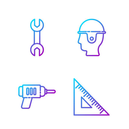 Set line Triangular ruler, Electric drill machine, Wrench spanner and Worker safety helmet. Gradient color icons. Vector