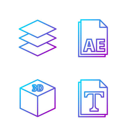 Set line Text file document, Isometric cube, Layers and AE file document. Gradient color icons. Vector