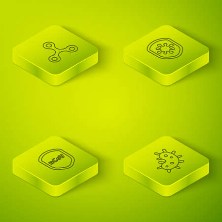 Set Isometric Shield protecting from virus, , Virus and icon. Vector