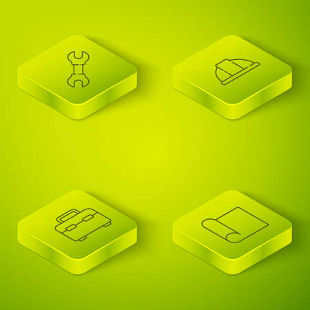Set Isometric Worker safety helmet, Toolbox, Graphing paper for engineering and Wrench spanner icon. Vector