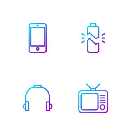 Set line Retro tv, Headphones, Smartphone, mobile and Broken battery. Gradient color icons. Vector