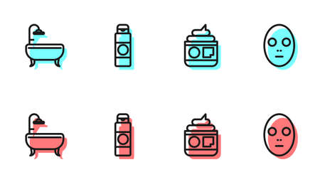 Set line Cream or lotion cosmetic tube, Bathtub, and Facial mask icon. Vector