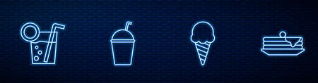 Set line Ice cream in waffle cone, Cocktail, Milkshake and Stack of pancakes. Glowing neon icon on brick wall. Vector Ilustrace