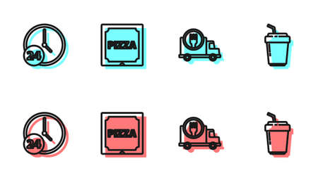 Set line Fast delivery by car, Clock 24 hours, Pizza in cardboard box and Coffee cup to go icon. Vector 向量圖像