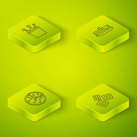 Set Isometric Stack of pancakes, Pizza, Cracker biscuit and Chicken leg in package box icon. Vector