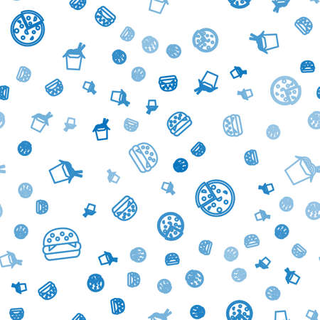 Set line Burger, Pizza and Asian noodles and chopsticks on seamless pattern. Vector