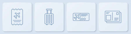 Set line Airline ticket, , Suitcase and Passport with visa stamp. White square button. Vector
