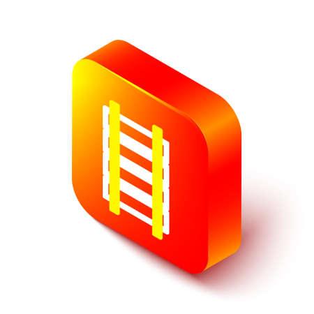 Isometric line Railway, railroad track icon isolated on white background. Orange square button. Vector Illustration