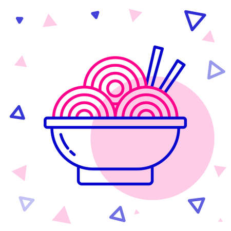 Line Asian noodles in bowl and chopsticks icon isolated on white background. Street fast food. Korean, Japanese, Chinese food. Colorful outline concept. Vector Illustration