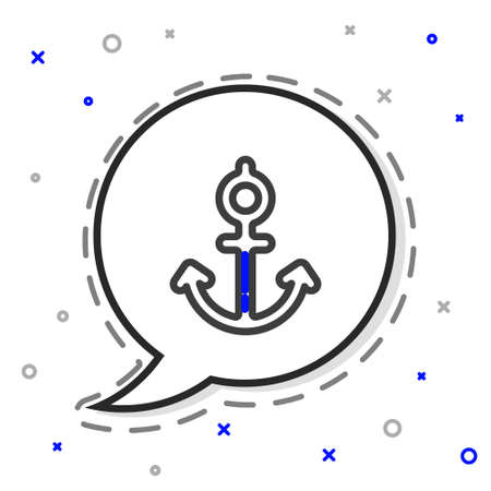 Line Anchor icon isolated on white background. Colorful outline concept. Vector Illustration