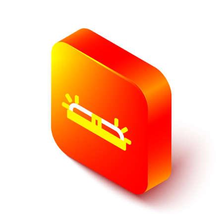 Isometric line Flasher siren icon isolated on white background. Emergency flashing siren. Orange square button. Vector Illustration Illustration