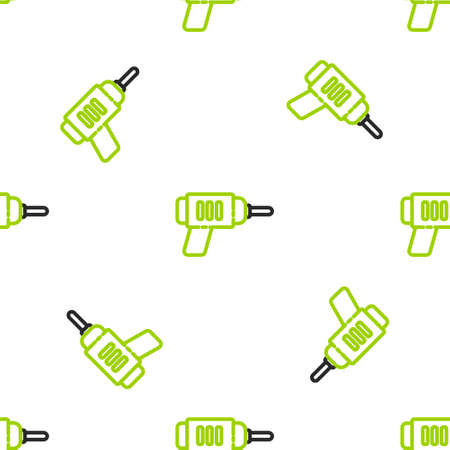 Line Electric drill machine icon isolated seamless pattern on white background. Repair tool. Vector Illustration Çizim