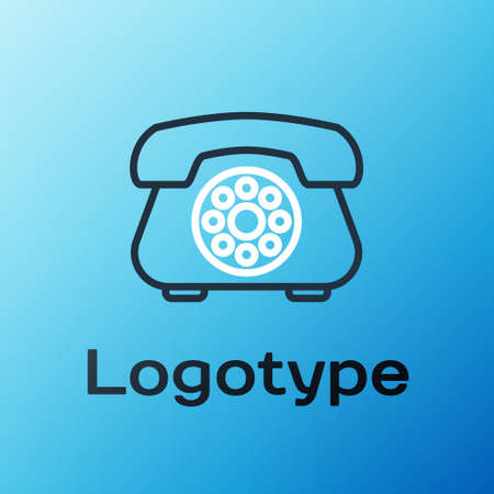 Line Telephone icon isolated on blue background. Landline phone. Colorful outline concept. Vector Illustration