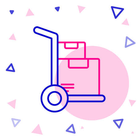 Line Hand truck and boxes icon isolated on white background. Dolly symbol. Colorful outline concept. Vector Illustration