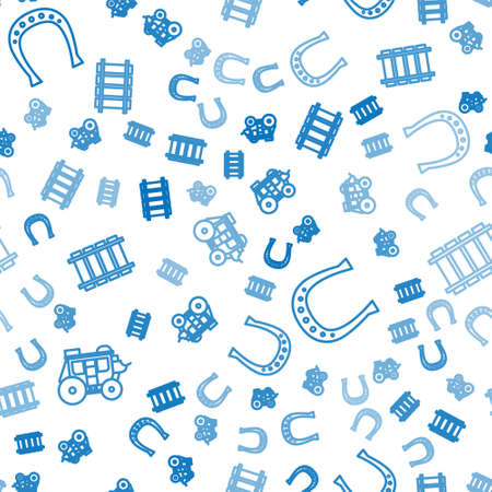Set line Western stagecoach, Horseshoe and Railway, railroad track on seamless pattern. Vector