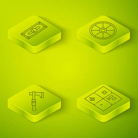 Set Isometric Old wooden wheel, Tomahawk axe, Treasure map and Stacks paper money cash icon. Vector
