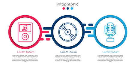 Set line Music player, Vinyl disk and Microphone. Business infographic template. Vector