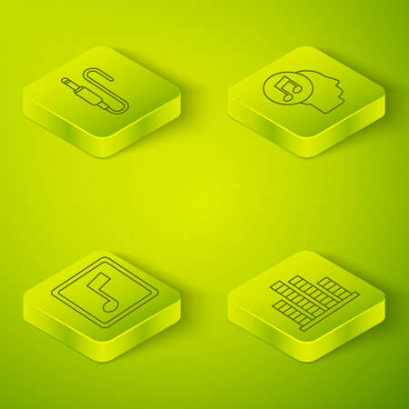 Set Isometric Musical note in human head, Music note, tone, Music equalizer and Audio jack icon. Vector