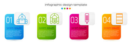 Set line Hiking backpack, Rafting boat, Ice cream and Beach towel. Business infographic template. Vector