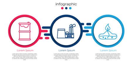 Set line Barrel oil leak, Oil industrial factory building and Alcohol or spirit burner. Business infographic template. Vector Çizim