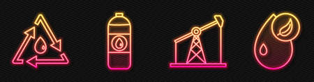 Set line Oil pump or pump jack, Oil drop with recycle, Canister for motor machine oil and Bio fuel. Glowing neon icon. Vector Çizim