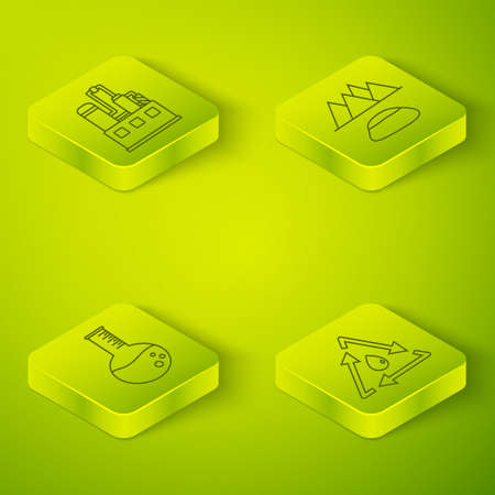 Set Isometric Oilfield, Oil petrol test tube, Oil drop with recycle and Oil industrial factory building icon. Vector