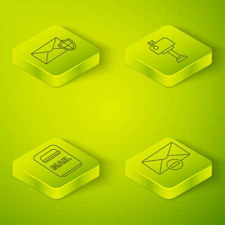 Set Isometric Mail box, Mail box, Delete envelope and Envelope with shield icon. Vector Ilustração