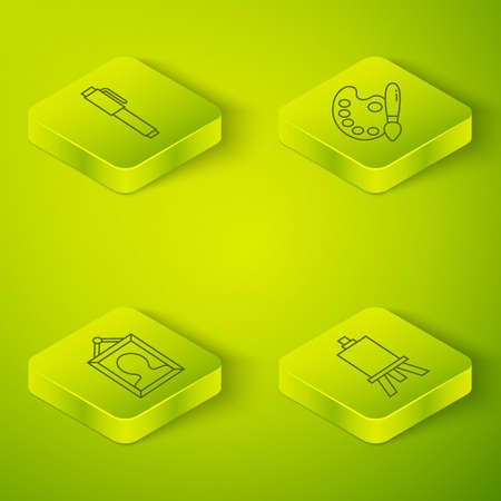Set Isometric Paint brush with palette, Picture, Easel or painting art boards and Pen icon. Vector Ilustração