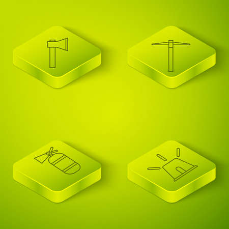 Set Isometric Pickaxe, Fire extinguisher, Flasher siren and Firefighter axe icon. Vector Ilustração