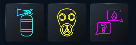 Set line Fire extinguisher, Phone with emergency call 911 and Gas mask. Black square button. Vector Illustration