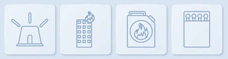 Set line Flasher siren, Canister for flammable liquids, Fire in burning building and Open matchbox and matches. White square button. Vector Illustration