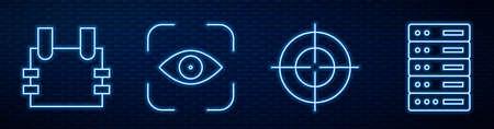 Set line Target sport, Bulletproof vest, Eye scan and Server, Data, Web Hosting. Glowing neon icon on brick wall. Vector