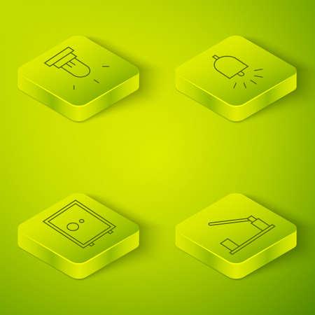 Set Isometric Ringing alarm bell, Safe, Parking car barrier and Motion sensor icon. Vector