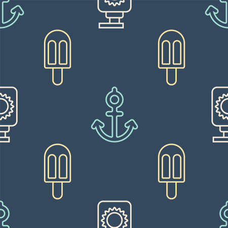 Set line Sunscreen spray bottle, Ice cream and Anchor on seamless pattern. Vector Vetores