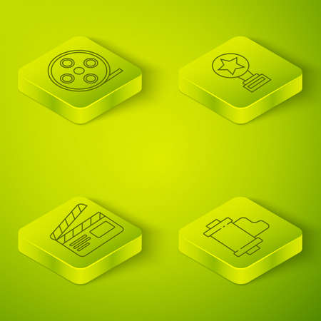 Set Isometric Movie trophy, Movie clapper, Camera vintage film roll cartridge and Film reel icon. Vector  イラスト・ベクター素材